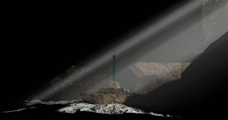 Excalibur sword in the stone in the dark cave with sun beam