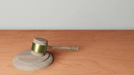 3D illustration of judge gavel on wooden table 版權商用圖片