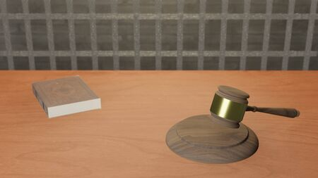 3D illustration of judge gavel on wooden table and cage background