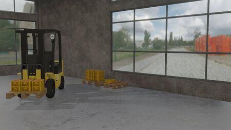 3D illustration of forklift carrying stacks of crates with oranges in the warehouse