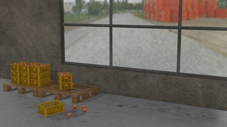 3D illustration of stacks of plastic crates on pallet with oranges in the warehouse