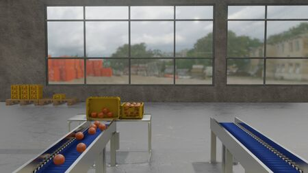 3D illustration of production line unloading and packing oranges in warehouse