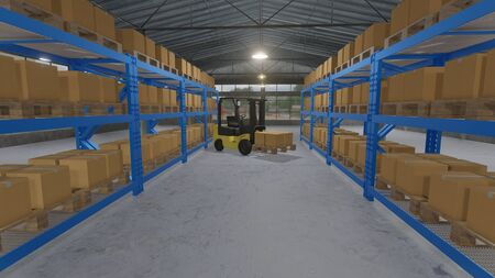 3D illustration of forklift truck loading pallet of products in the cardboard to store on shelf in warehouse Stock fotó