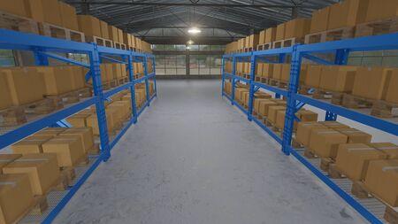 3D illustration of cardboard boxes inside on pallets racks in warehouse