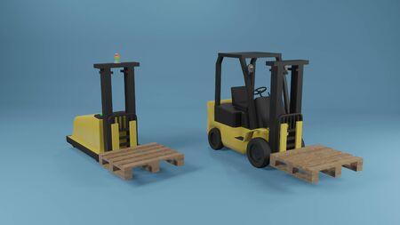 Industrial forklift and AGV robotic forklift truck with pallet on blue background. 3D rendering image