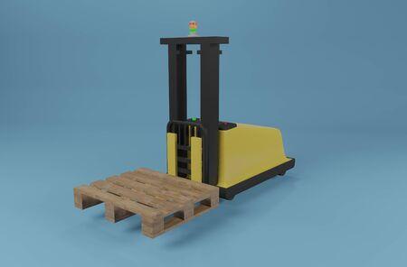 Industrial robot AGV forklift truck with pallet on blue background. 3D rendering image