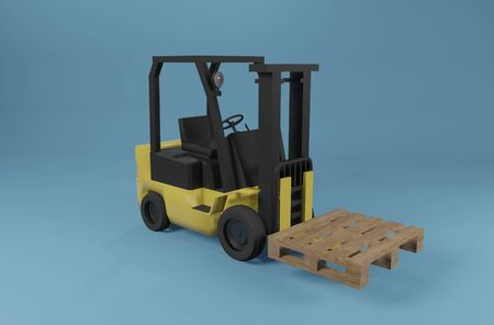 Industrial forklift truck with pallet on blue background. 3D rendering image