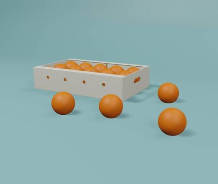 Orange box package on blue background. 3D rendering image