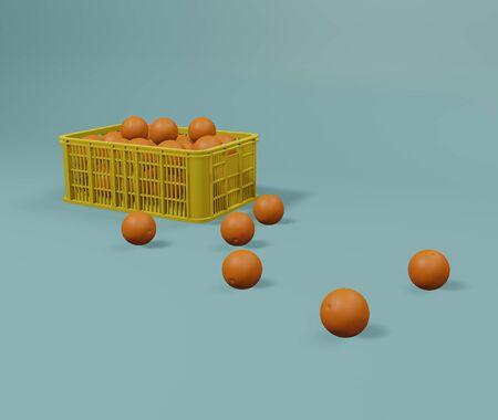 Crate orange on blue background. 3D rendering image