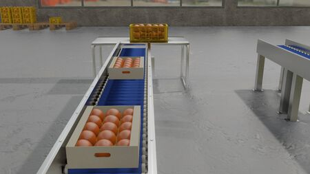 Production line of package orange box on conveyor. 3D rendering image