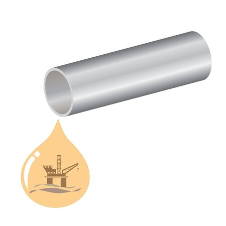 Pipeline creative design with a oil drop. Vector logo