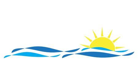 Sea wave and sun icon vector illustration design logo