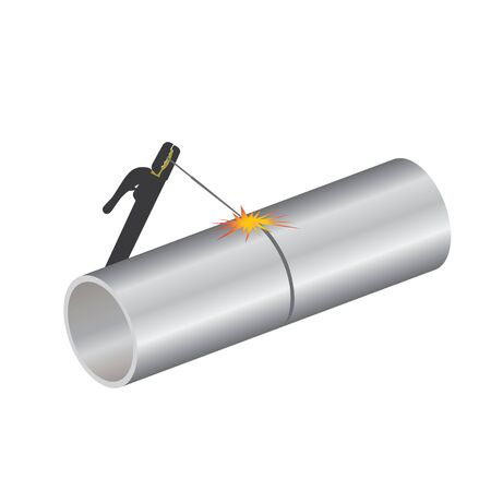 Welding torch with spark on pipeline vector design