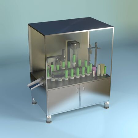 Process of Plastic tube filling machine in production line. 3D rendering image