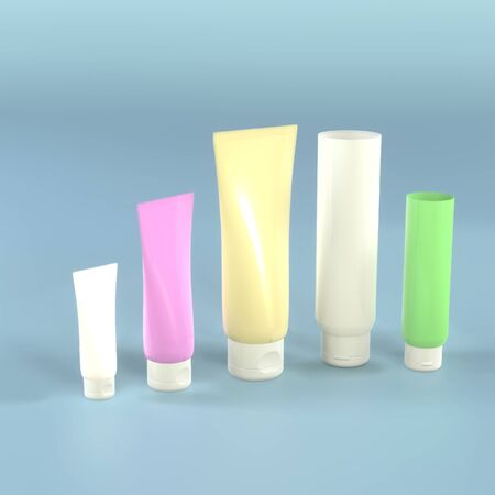 Set of skin care product cream or lotion cosmetic tube. 3D rendering image