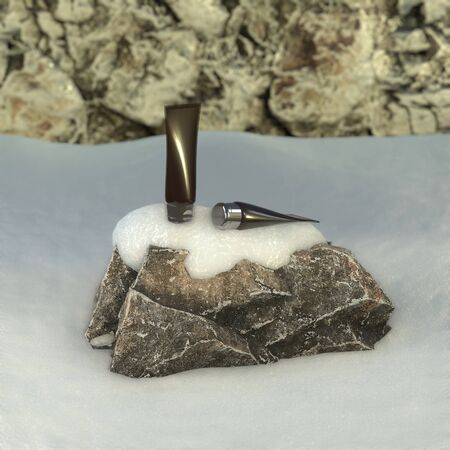 Charcoal skin care product cream or lotion cosmetic tube on the rock with snow in winter. 3D rendering image