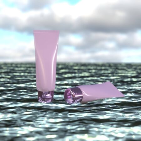 Pink tubes skin care product cream or lotion cosmetic tube on the sea background. 3D rendering image