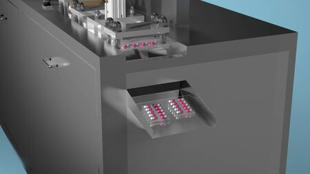 Capsule blister packing medicine, Industrial pharmaceutical production concept. 3D rendering image