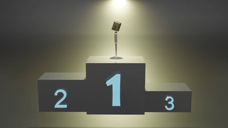 Singer winners with microphone on first place podium with spotlight. 3D rendering image Archivio Fotografico