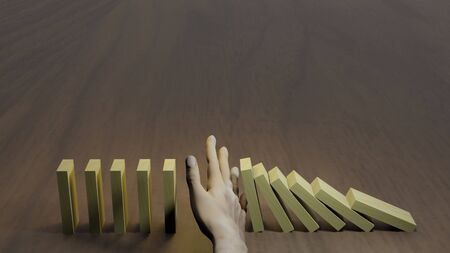 Business concept idea. Hand stopping falling dominos from business crisis. 3D rendering image
