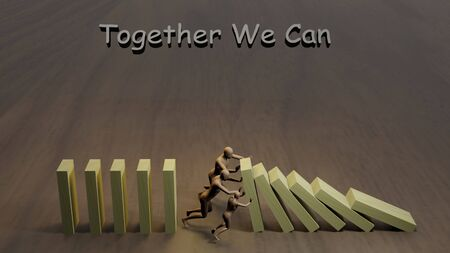 Teamwork concept idea. cartoon characters stopping falling dominos with text: Together We Can. 3D rendering image Archivio Fotografico