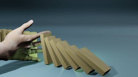 Business concept idea. Hand stopping collapsing dominos from business crisis. 3D rendering image