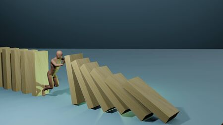 Business concept idea. cartoon character stopping collapsing dominos. 3D rendering image