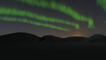Aurora Borealis Northern Lights green color in the night sky. 3D rendering image