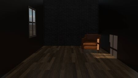 Dark empty room with a leather sofa and brick wall and a window with sunlight shadow on wooden floor. 3D rendering image