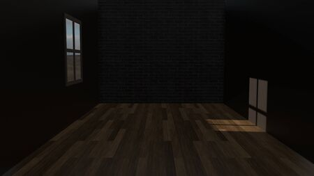 Dark empty room with brick wall and a window with sunlight shadow on wooden floor. 3D rendering image