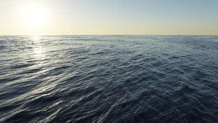 Blue ocean waves seascape background. 3D rendering image Stock fotó