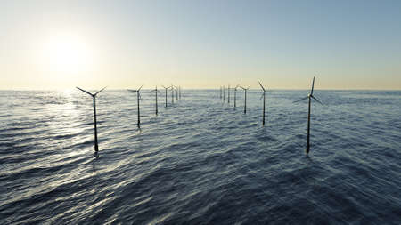 Green alternative energy. Offshore wind farm in the sea. 3D rendering image