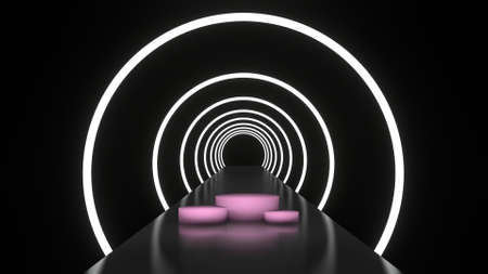 Abstract background glowing lines tunnel, neon lights, white round ring portal, blank pink platform for display product. 3D rendering image