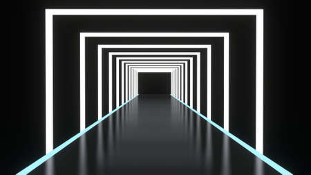 Abstract background glowing lines tunnel, neon lights, square portal, white color. 3D rendering image Archivio Fotografico