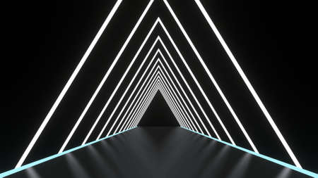 Abstract background glowing lines tunnel, neon lights, triangular portal. white color. 3D rendering image