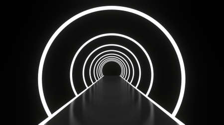 Abstract background glowing lines tunnel, neon lights, white round ring portal. 3D rendering image