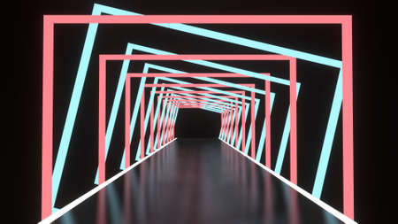 Abstract background glowing lines tunnel, neon lights, square portal, red and blue colors. 3D rendering image