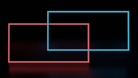 Abstract background glowing lines, neon frame, red and blue colors rectangle. 3D rendering image