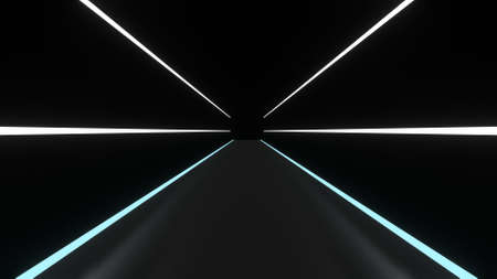 Abstract background glowing lines tunnel, white and blue neon lights. 3D rendering image Archivio Fotografico