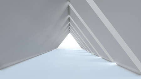 Abstract background empty long light modern corridor, white triangular tunnel. 3D rendering image Archivio Fotografico