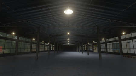Empty factory building, dark warehouse with lamps. 3D rendering image