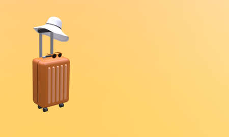 Orange suitcase with hat and sunglasses on orange background. Travel vacation holiday concept. 3d rendering illustration