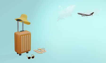 Orange suitcase with hat, sunglasses and slipper with flying airplane on blue background. Travel vacation holiday concept. 3d rendering illustration
