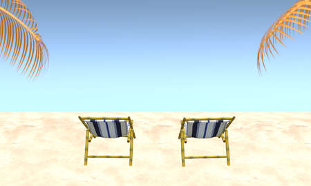 Two beach chairs on beach with palm tree leaves and blue sky background in summer. Travel vacation holiday concept. 3d rendering illustration