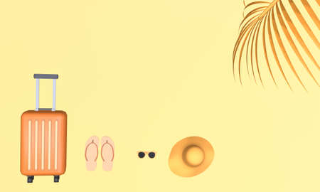 Orange suitcase with hat, sunglasses and slipper with palm tree leaf on yellow background. Travel vacation holiday concept. 3d rendering illustration