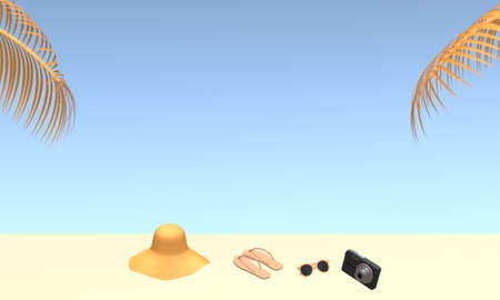Hat, sunglasses, slipper and camera on beach with palm tree leaves and blue sky background in summer. Travel vacation holiday concept. 3d rendering illustration