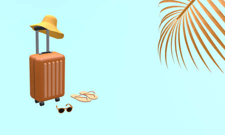 Orange suitcase with hat, sunglasses and slipper with palm tree leaf on blue background. Travel vacation holiday concept. 3d rendering illustration