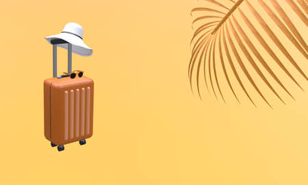 Orange suitcase with hat and sunglasses with palm tree leaf on orange background. Travel vacation holiday concept. 3d rendering illustration