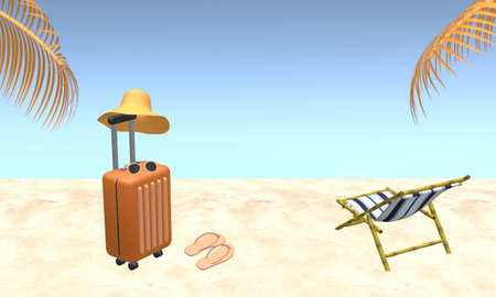 Orange suitcase with hat, sunglasses, slipper with palm tree leaves and beach chair on beach. Blue sky background in summer. Travel vacation holiday concept. 3d rendering illustration