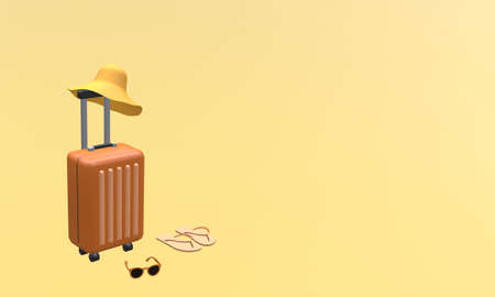 Orange suitcase with hat, sunglasses and slipper on orange background. Travel vacation holiday concept. 3d rendering illustration Archivio Fotografico